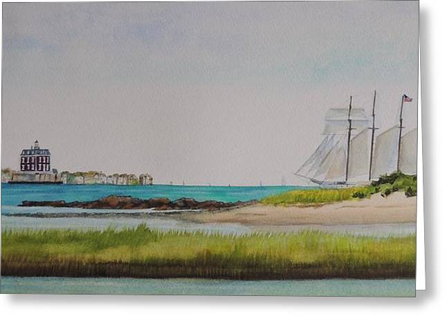 Schooner Paintings Greeting Cards - Ledge Light Lighthouse New London Waterford Beach CT Greeting Card by Patty Kay Hall