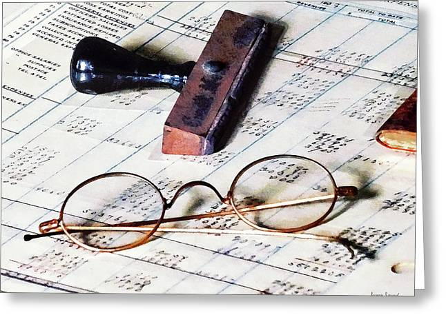Books Greeting Cards - Ledger With Eyeglasses and Rubber Stamp Greeting Card by Susan Savad