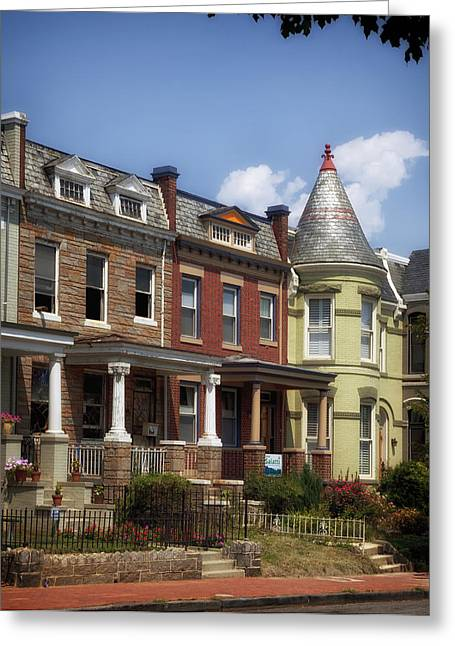 Covered Porch Greeting Cards - LeDroit Park Row Houses - Washington DC Greeting Card by Mountain Dreams