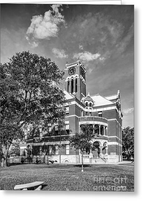 Photographs With Red. Greeting Cards - Lee County Courthouse in Giddings Texas Greeting Card by Silvio Ligutti