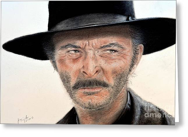Sergio Leone Greeting Cards - Lee Van Cleef as Angel Eyes in The Good the Bad and the Ugly Greeting Card by Jim Fitzpatrick
