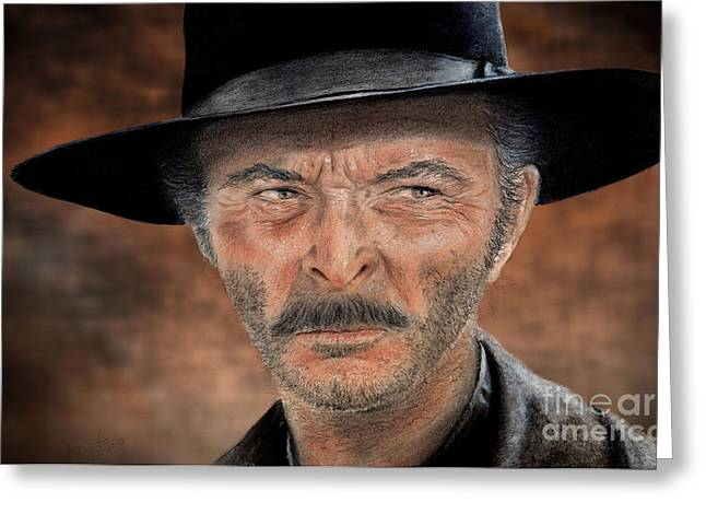 Sun Hat Mixed Media Greeting Cards - Lee Van Cleef as Angel Eyes in The Good the Bad and the Ugly Version II Greeting Card by Jim Fitzpatrick