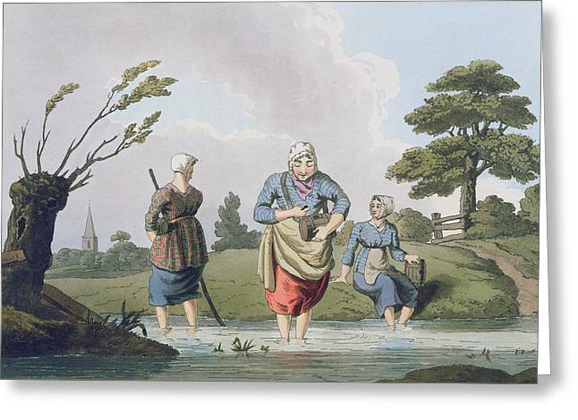 Stream Greeting Cards - Leech Finders, From `costume Greeting Card by George Walker
