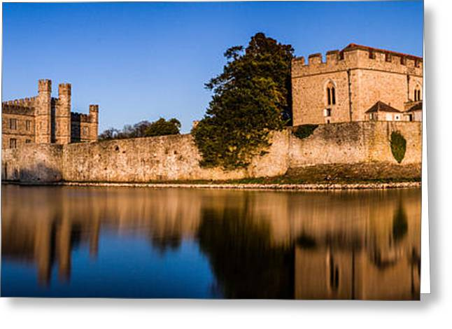 Moat Greeting Cards - Leeds castle panorama Greeting Card by Ian Hufton