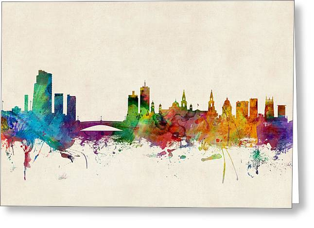 Cityscape Digital Art Greeting Cards - Leeds England Skyline Greeting Card by Michael Tompsett