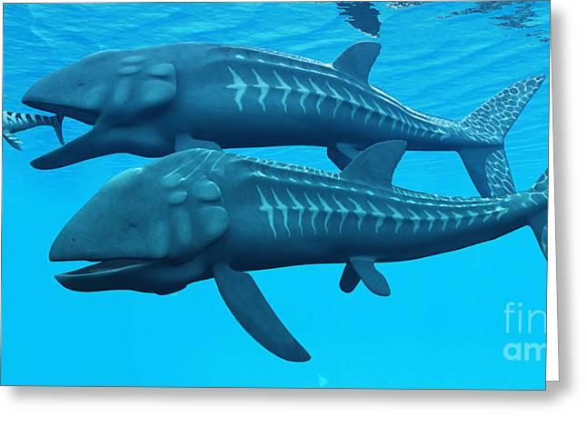 Sea Life Digital Art Greeting Cards - Leedsichthys Ocean Fish Greeting Card by Corey Ford
