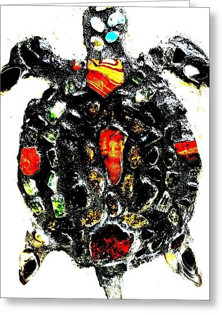 Aboriginal Mixed Media Greeting Cards - Leeky Turtle Greeting Card by Lisa Brandel