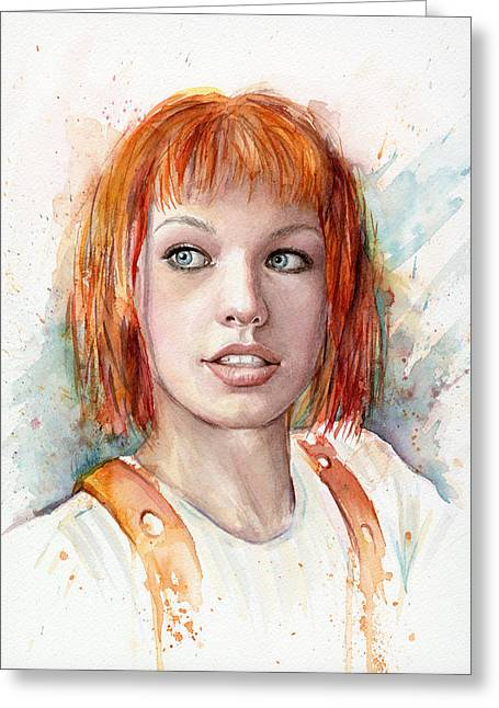 Dallas Paintings Greeting Cards - Leeloo Portrait MULTIPASS The Fifth Element Greeting Card by Olga Shvartsur
