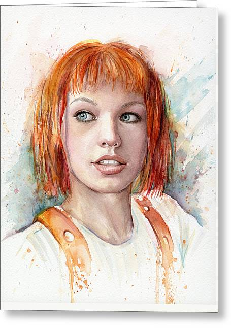 Film Watercolor Greeting Cards - Leeloo Portrait MULTIPASS The Fifth Element Greeting Card by Olga Shvartsur