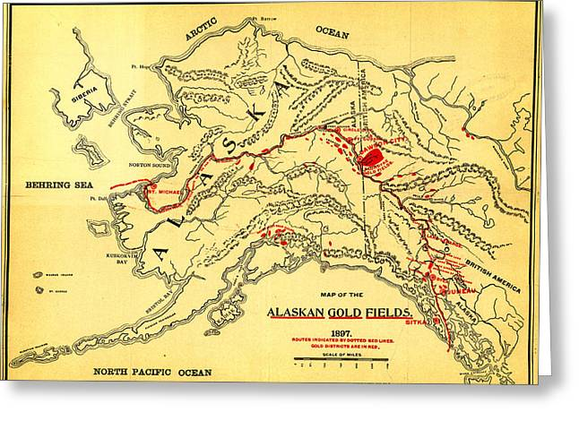 Antique Greeting Cards - Lees Map of the Alaskan gold fields 1897 Greeting Card by MotionAge Designs