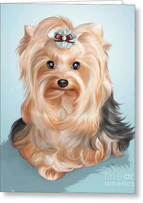 Toy Dogs Mixed Media Greeting Cards - Leetl LuLoo Zazu  Greeting Card by Catia Cho