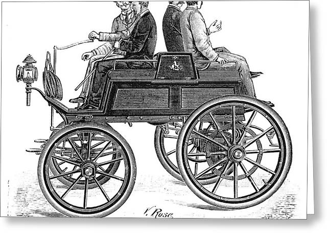 Cart Driving Greeting Cards - Lefebvre petrol car, 1897 Greeting Card by Science Photo Library