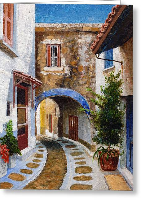 Greek Islands Greeting Cards - Lefkimi, Corfu, 2006 Oil On Board Greeting Card by Trevor Neal
