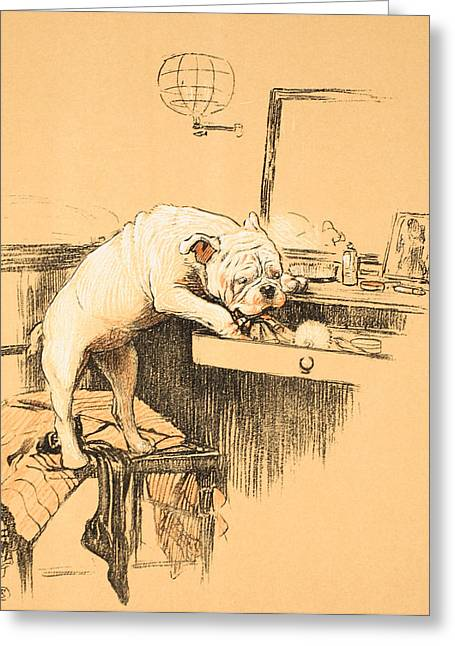 British Bulldog Greeting Cards - Left Alone in her Dressing Room Greeting Card by Cecil Charles Windsor Aldin