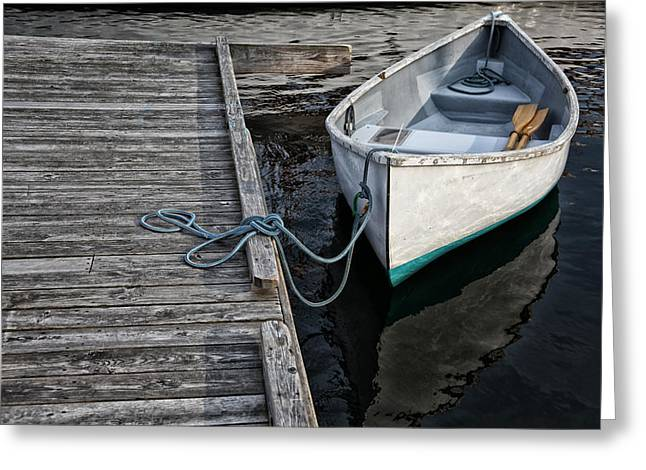 Row Boat Photographs Greeting Cards - Left at the Dock Greeting Card by Karol  Livote
