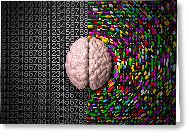 Thinking Digital Greeting Cards - Left Brain Right Brain Greeting Card by Allan Swart