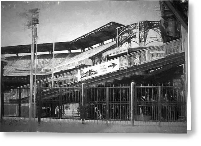 Pnc Park Digital Art Greeting Cards - PNC Left Field Bleachers Charcoal Look Greeting Card by Stephen Falavolito