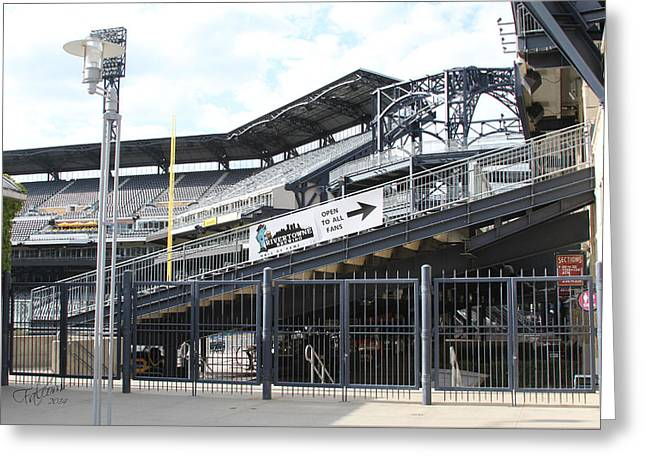 Pnc Park Digital Art Greeting Cards - PNC Left Field Bleachers Original Image Greeting Card by Stephen Falavolito