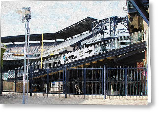 Pnc Park Digital Art Greeting Cards - PNC Left Field Bleachers Painting Look Greeting Card by Stephen Falavolito