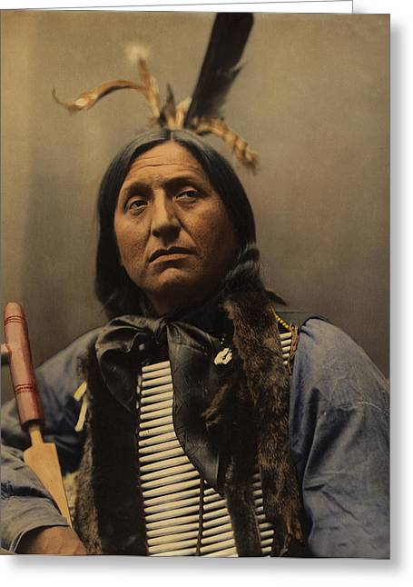 Oglala Greeting Cards - Left Hand Bear Oglala Sioux Chief Greeting Card by Heyn Photo