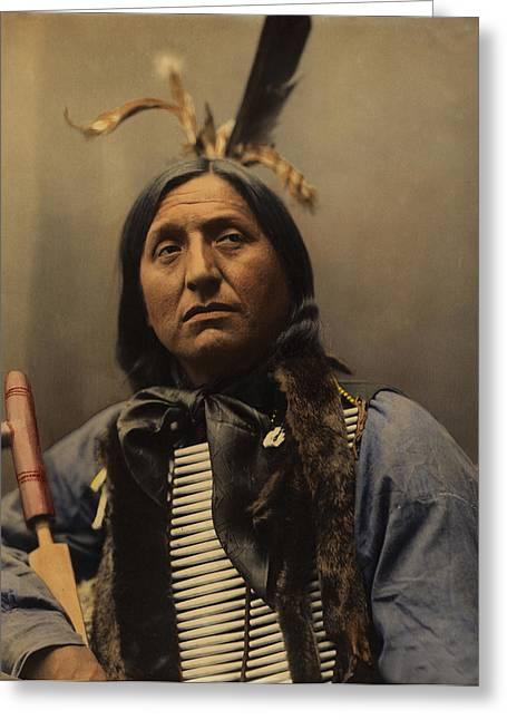 Oglala Greeting Cards - Left Hand Bear Oglala Sioux Chief Greeting Card by Heyn Photo