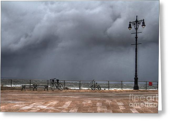York Beach Greeting Cards - Left In The Power Of The Storm Greeting Card by Evelina Kremsdorf