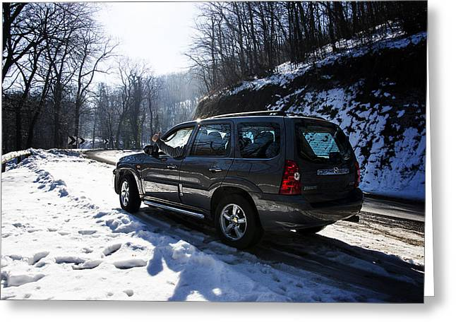 Teruel Greeting Cards - Left side of Mazda Tribute on the mountain road Greeting Card by Newnow Photography By Vera Cepic