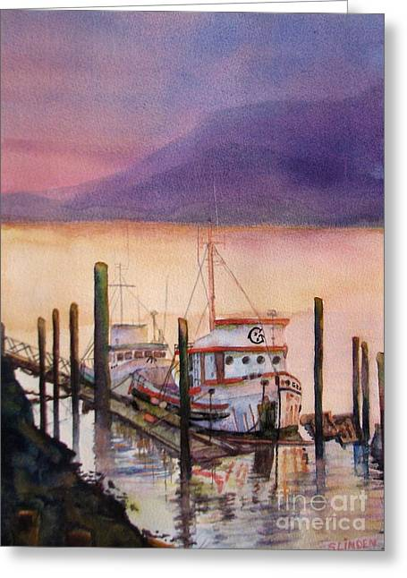 Boats At The Dock Greeting Cards - Left to Rust Greeting Card by Sandy Linden
