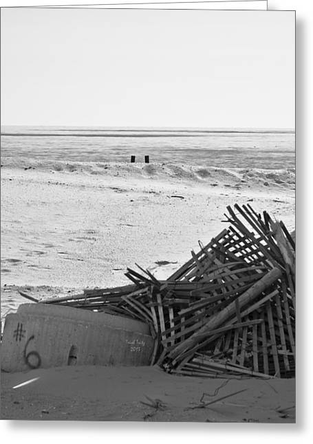 Steel Pier Greeting Cards - Leftovers From Hurricane Sandy Greeting Card by Trish Tritz