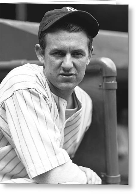 Gomez Greeting Cards - Lefty Gomez Outside Dugout Greeting Card by Retro Images Archive