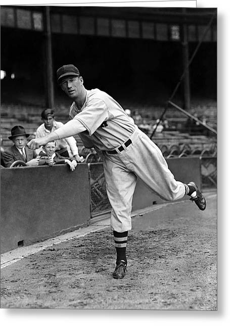 Retro Antique Greeting Cards - Lefty Grove Getting Ready Greeting Card by Retro Images Archive