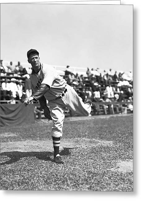 Boston Red Sox Greeting Cards - Lefty Grove Pitching In Front Of Crowd Greeting Card by Retro Images Archive