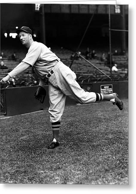 Retro Antique Greeting Cards - Lefty Grove Pitching Pre Game  Greeting Card by Retro Images Archive