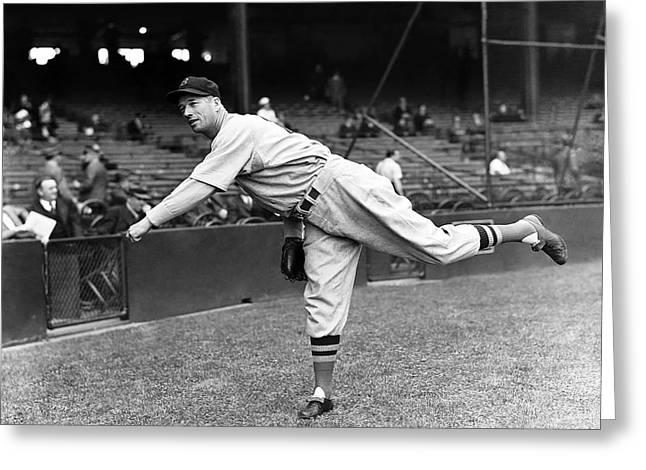 Hall Of Fame Greeting Cards - Lefty Grove Pitching Greeting Card by Retro Images Archive