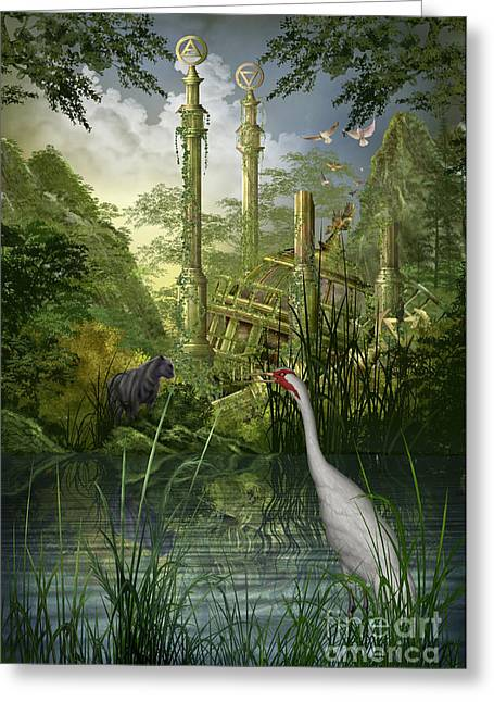 Castle. Birds Greeting Cards - Leg Ruined Palace Greeting Card by Ciro Marchetti