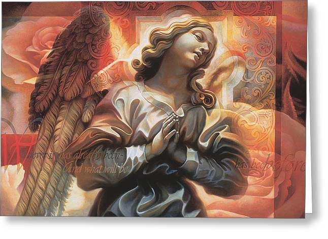 Gold Angel Greeting Cards - Legacy Greeting Card by Mia Tavonatti