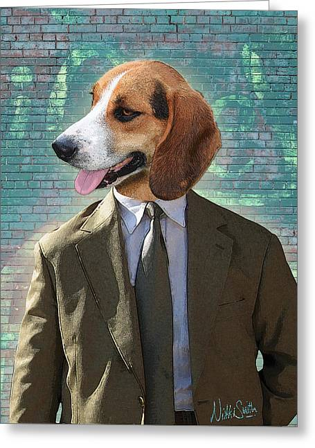 Funny Dog Digital Greeting Cards - Legal Beagle Greeting Card by Nikki Smith