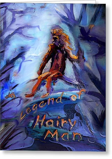 Janet Oh Greeting Cards - Legend of Hairy Man Greeting Card by Janet Oh