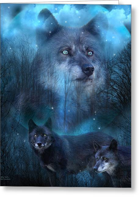 Legend Of The Blue Wolf Greeting Card by Carol Cavalaris