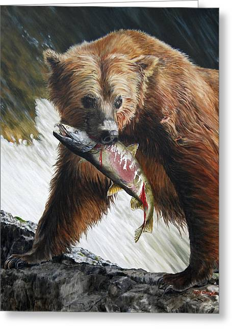 Brown Bears Greeting Cards - Legend of the Falls Greeting Card by Rob Dreyer AFC