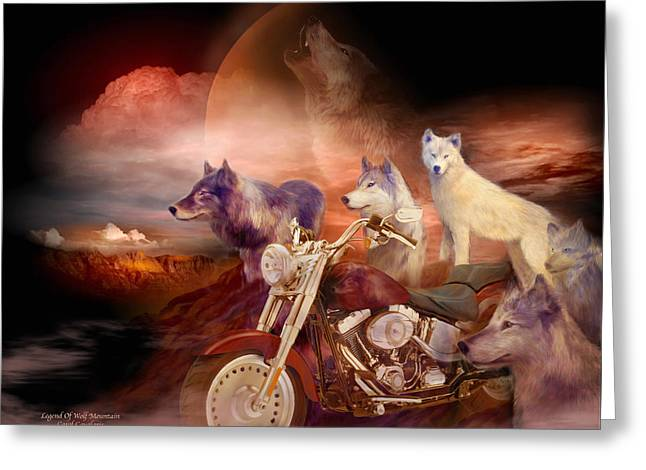 Art Of Carol Cavalaris Greeting Cards - Legend Of Wolf Mountain Greeting Card by Carol Cavalaris