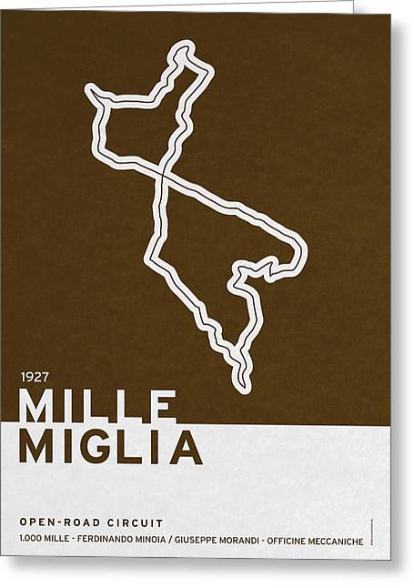 Brasil Greeting Cards - Legendary Races - 1927 Mille Miglia Greeting Card by Chungkong Art