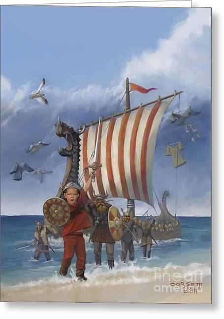 Legendary Viking Greeting Card by Rob Corsetti