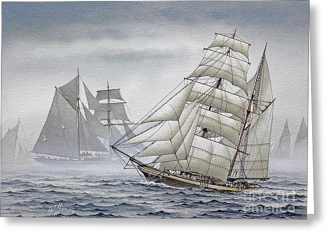 Artist James Williamson Maritime Print Greeting Cards - Legendary Yachts Greeting Card by James Williamson