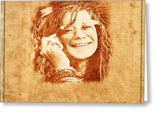 Janis Joplin Greeting Cards - Legends 5 Greeting Card by Andrew Fare