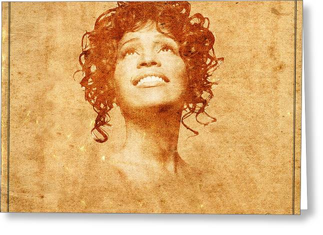 Whitney Houston Greeting Cards - Legends 8 Greeting Card by Andrew Fare