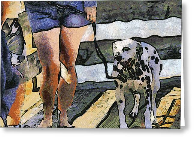 Girl And Animals Greeting Cards - Leggy Girl And Dog Spot Greeting Card by Barbara Snyder