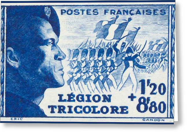 Legion Tricolore Stamp Greeting Card by Lanjee Chee