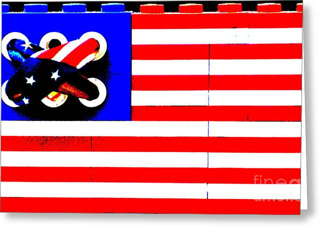 Lego Mixed Media Greeting Cards - Lego American Flag Greeting Card by Adspice Studios