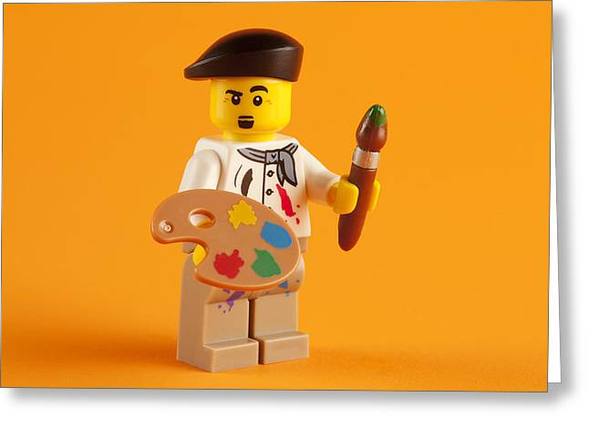 Lego Greeting Cards - Lego Artist Greeting Card by Samuel Whitton